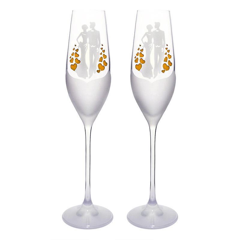 ee85774c03901 Poháre | Poháre na šampanské Mladomanželia - zlaté srdcia | Víno ...
